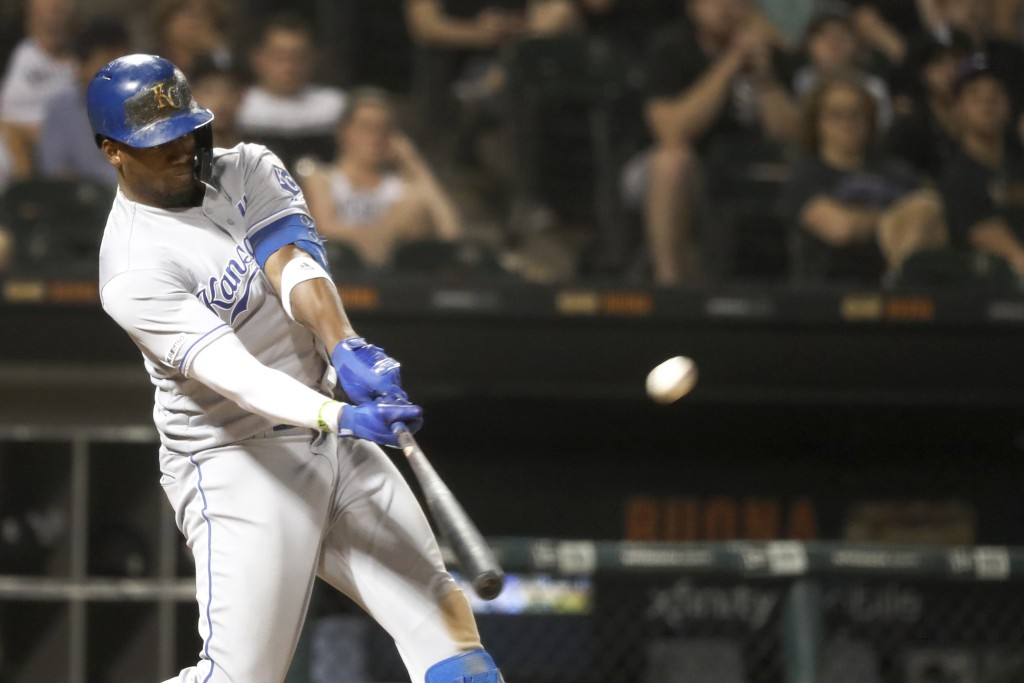 Kansas City Royals' Jorge Soler hits a two-run home run off Chicago White Sox relief pitcher Carson Fulmer during the eighth inning of a baseball game