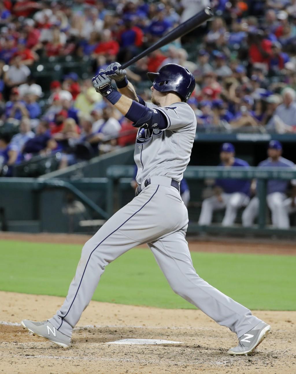 Tampa Bay Rays' Matt Duffy follows through on an RBI sacrifice fly in the fourth inning of a baseball game against the Texas Rangers in Arlington, Tex...