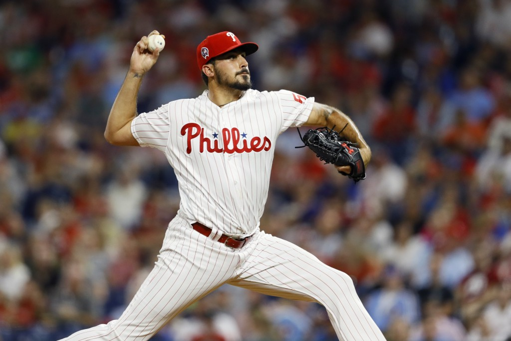 Philadelphia Phillies' Zach Eflin pitches during t...