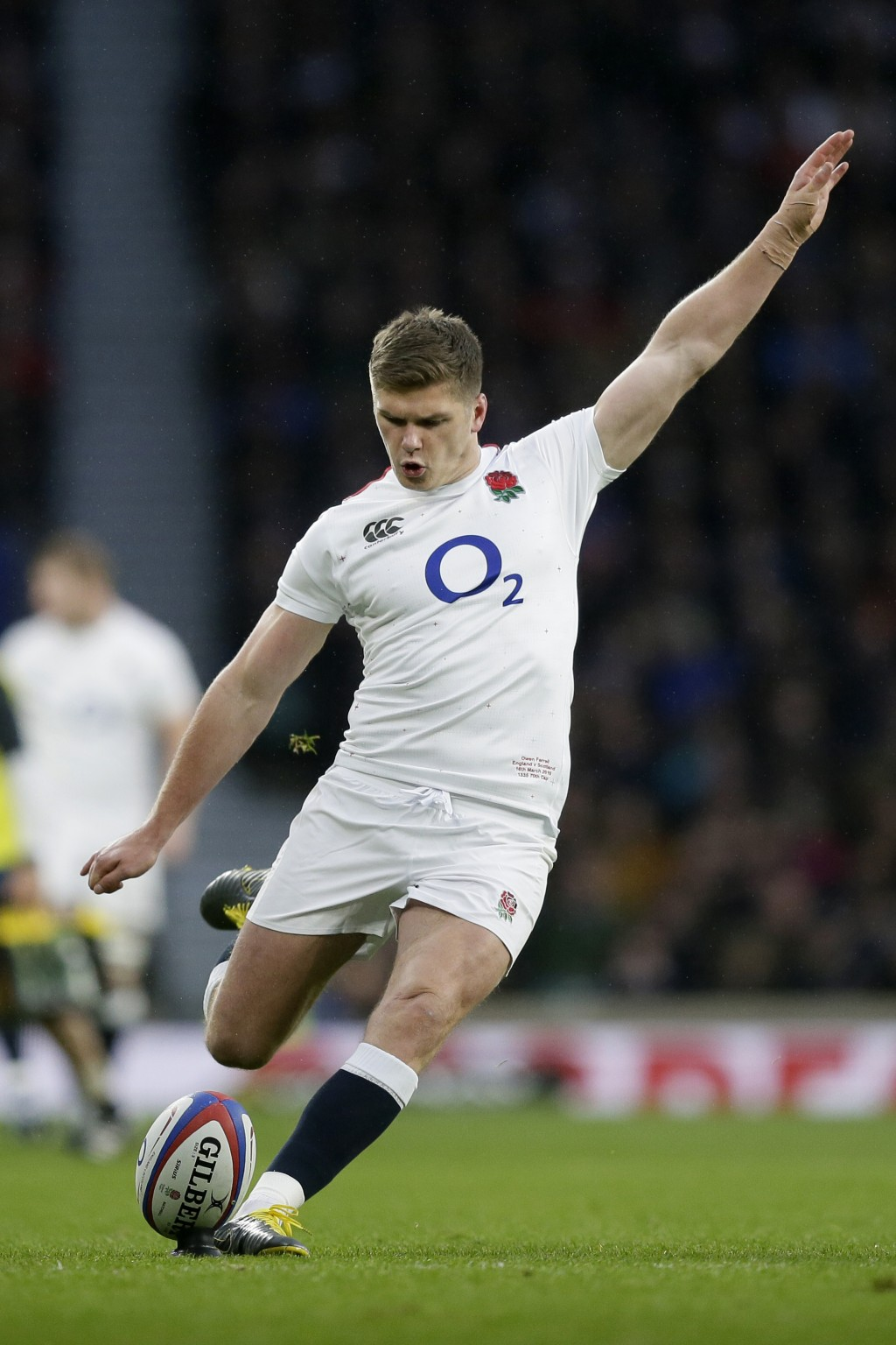 FILE - In this March 16, 2019, file photo, England's Owen Farrell takes a shot at goal during the Six Nations rugby union international between Englan
