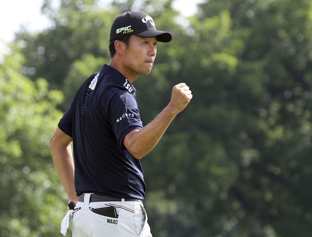 FILE- In this May 26, 2019, file photo, Kevin Na pumps his fist after winning in the final round of the Charles Schwab Challenge golf tournament in Fo