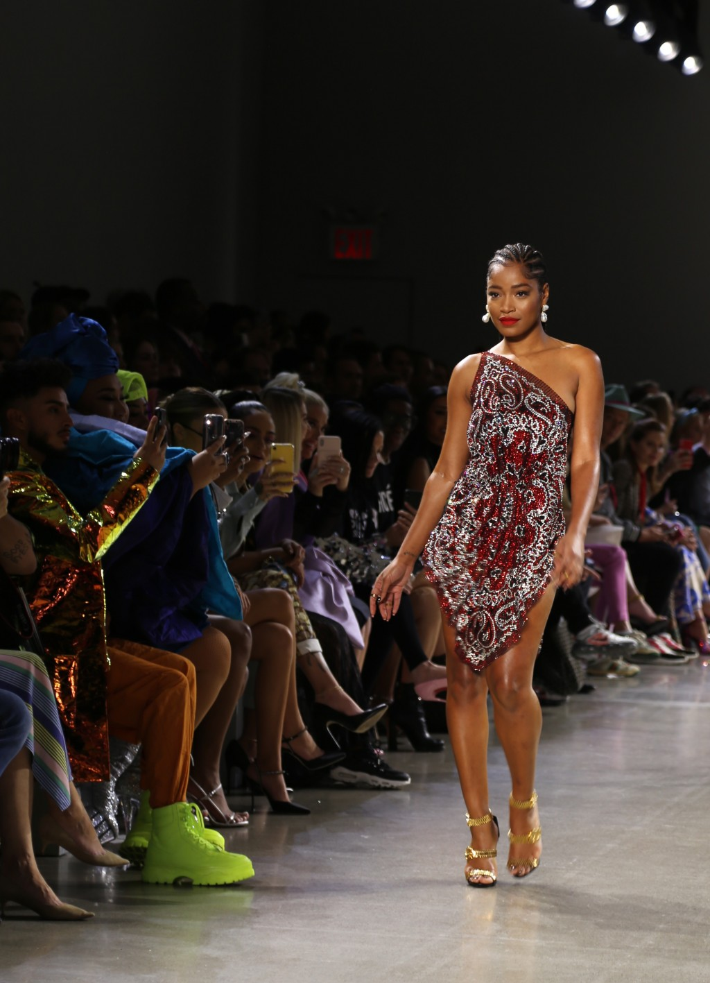 Actress Keke Palmer wears fashion from the Christian Cowan collection during Fashion Week in New York on Tuesday, Sept. 10, 2019. (AP Photo/Ragan Clar...