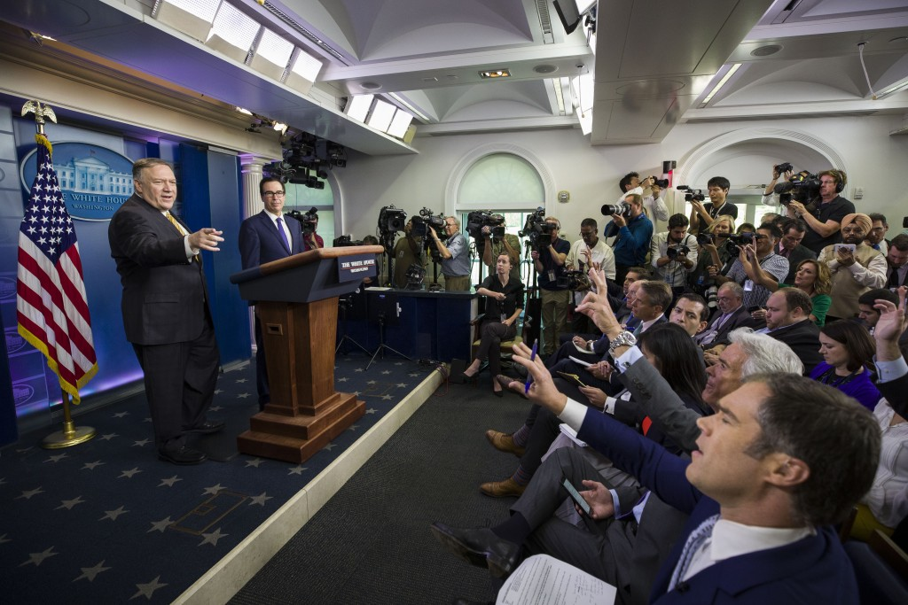 Secretary of State Mike Pompeo and Treasury Secretary Steve Mnuchin answer questions during a briefing on terrorism financing at the White House Tuesd
