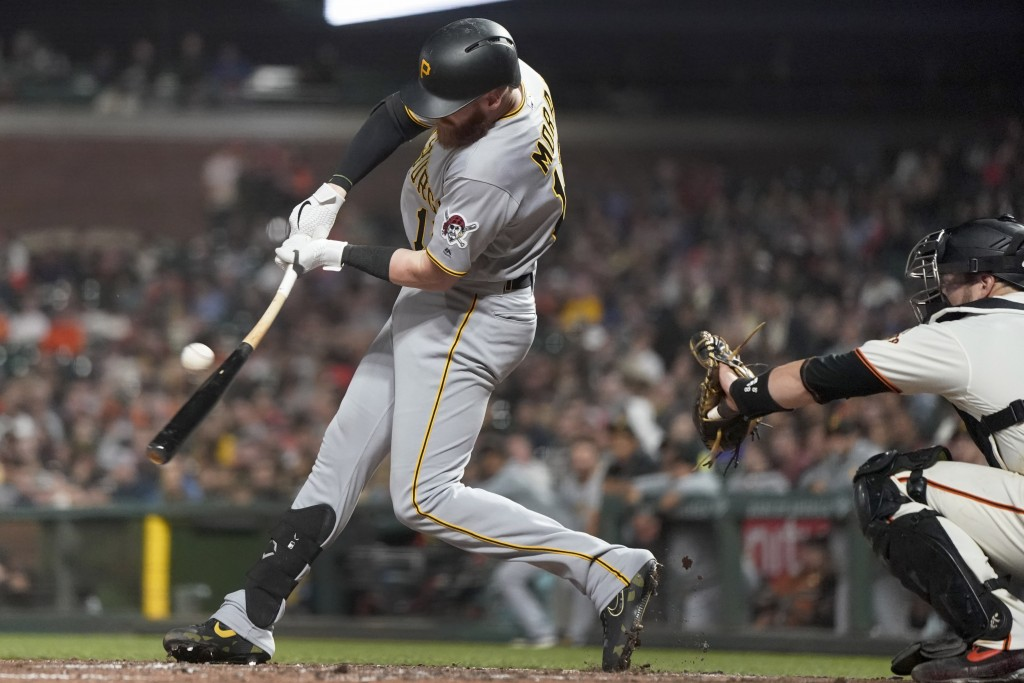 Pittsburgh Pirates' Colin Moran hits a single against the San Francisco Giants during the fifth inning of a baseball game Wednesday, Sept. 11, 2019, i...