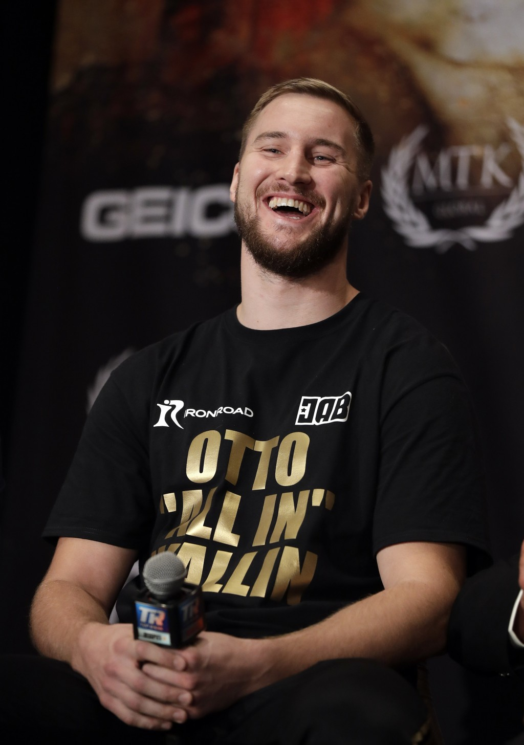 Otto Wallin, of Sweden, laughs during a news conference Wednesday, Sept. 11, 2019, in Las Vegas. Wallin will face Tyson Fury in a heavyweight boxing m