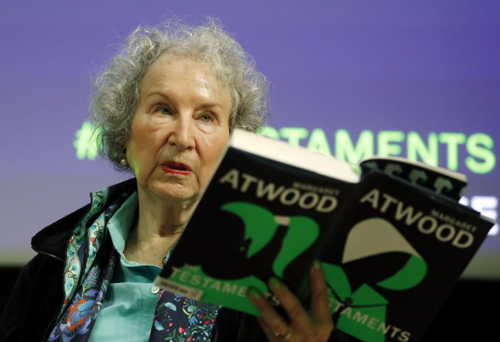 Canadian author Margaret Atwood speaks during a press conference at the British Library to launch her new book 'The Testaments' in London, Tuesday, Se