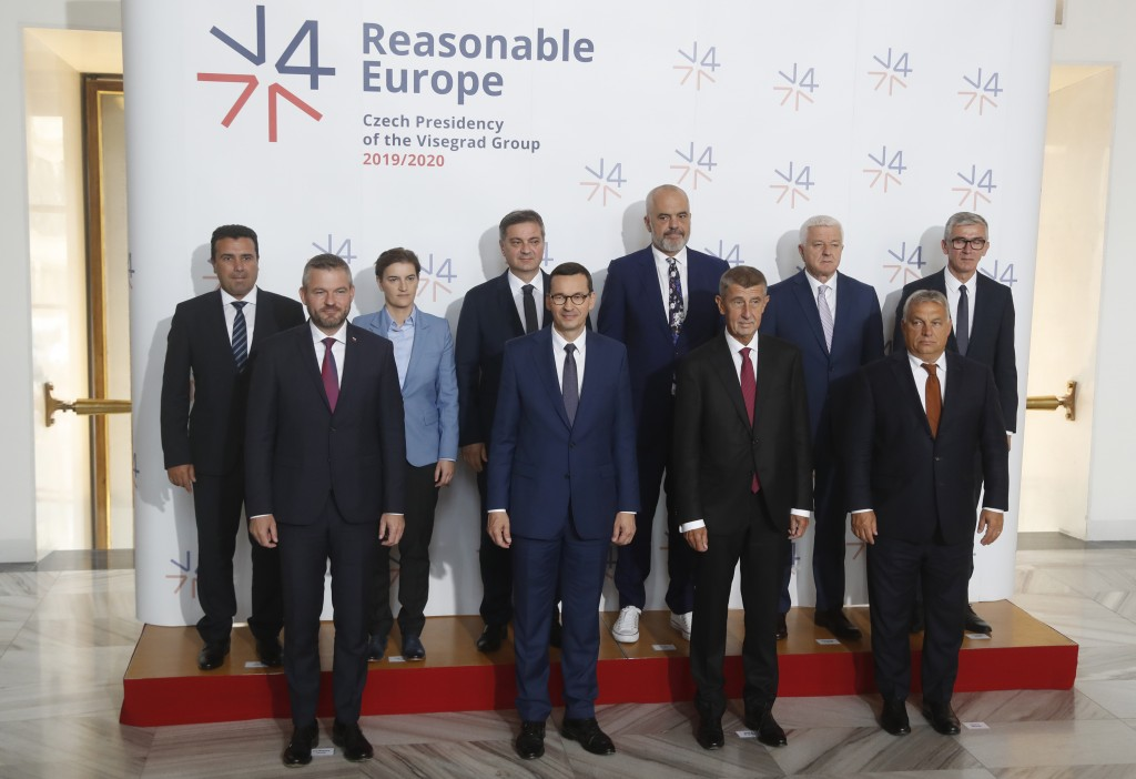 Macedonian Prime Minister Zoran Zaev, (top row left to right), Prime Minister of Serbia Ana Brnabic, Chairman of the Council of Ministers of Bosnia an