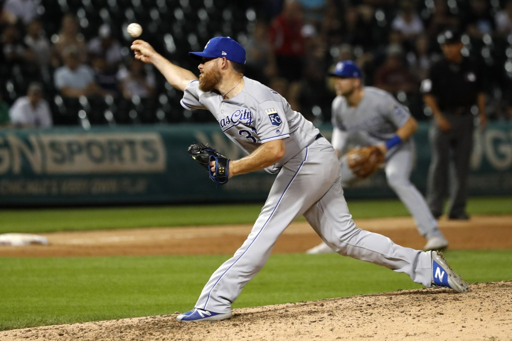 Kansas City Royals relief pitcher Ian Kennedy delivers during the ninth inning of the team's baseball game against the Chicago White Sox on Wednesday,...
