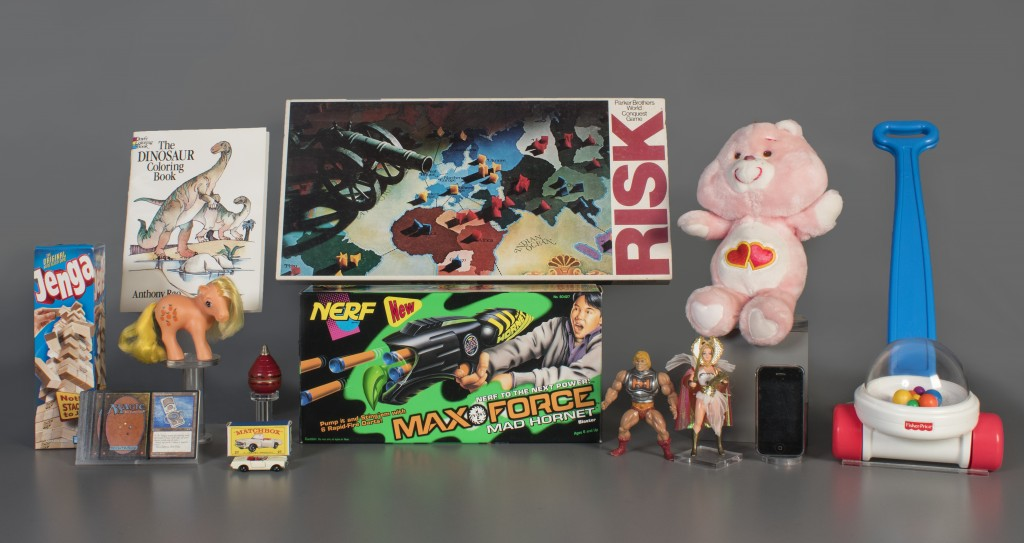 In this Aug. 13, 2019 photo provided by the National Toy Hall of Fame are the 2019 finalists, from left to right, Jenga, Magic the Gathering, My Littl