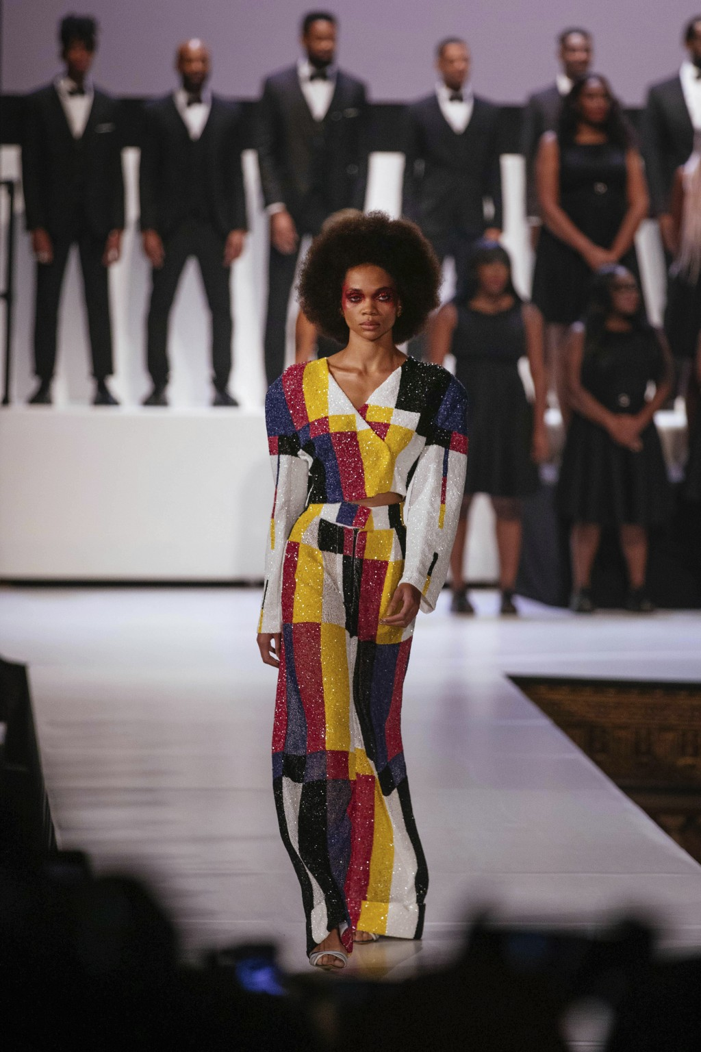 The Pyer Moss collection is modeled during Fashion Week, Sunday, Sept. 8, 2019 in New York. (AP Photo/Kevin Hagen)