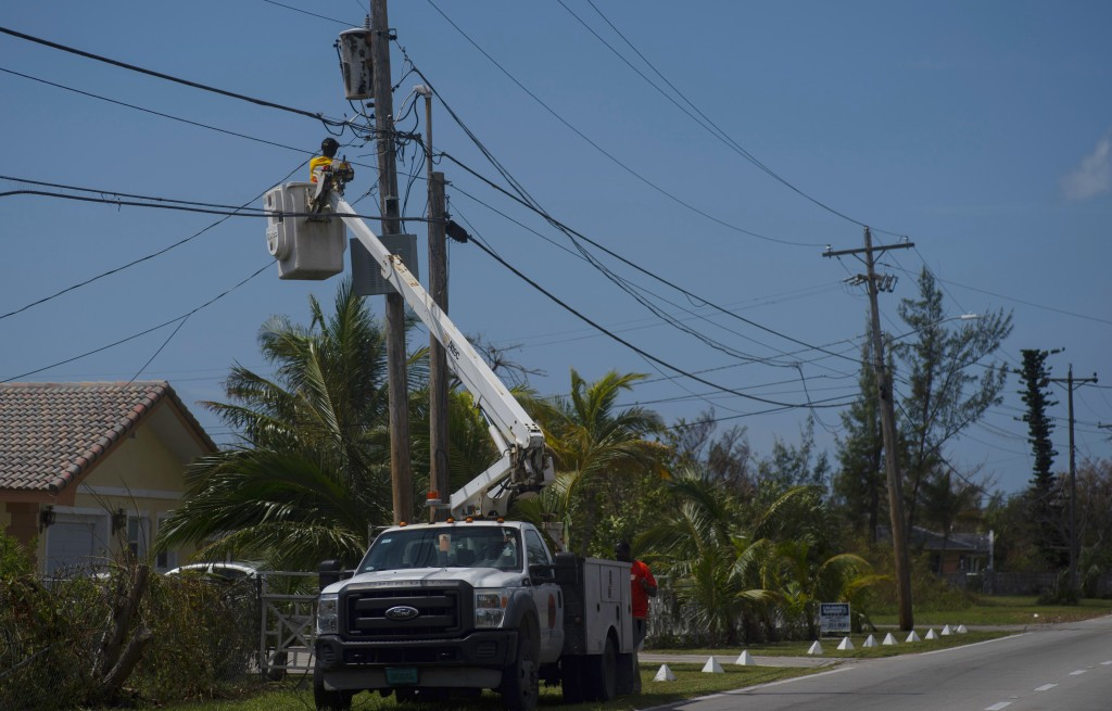 Cable TV is restored after the passing of Hurricane Dorian in Freeport, Bahamas, Wednesday, Sept. 11, 2019. While power has returned to much of Grand ...