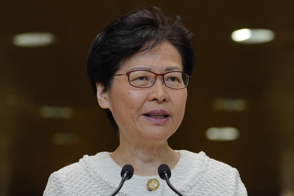 Hong Kong Chief Executive Carrie Lam, talks during a press conference at the government building in Hong Kong Tuesday, Sept. 10, 2019. Hong Kong leade