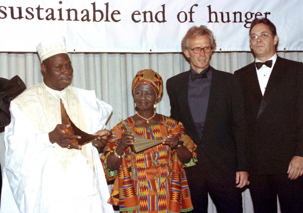 In this Sept. 27, 1990 file photo actor Raúl Juliá, far right, next to actor Peter Weller, pose with Gen. Olusegun Obasanjo, left, former president of
