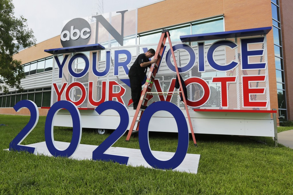 Signage is erected for the upcoming Democratic presidential primary debates hosted by ABC on the campus of Texas Southern University, Wednesday, Sept.