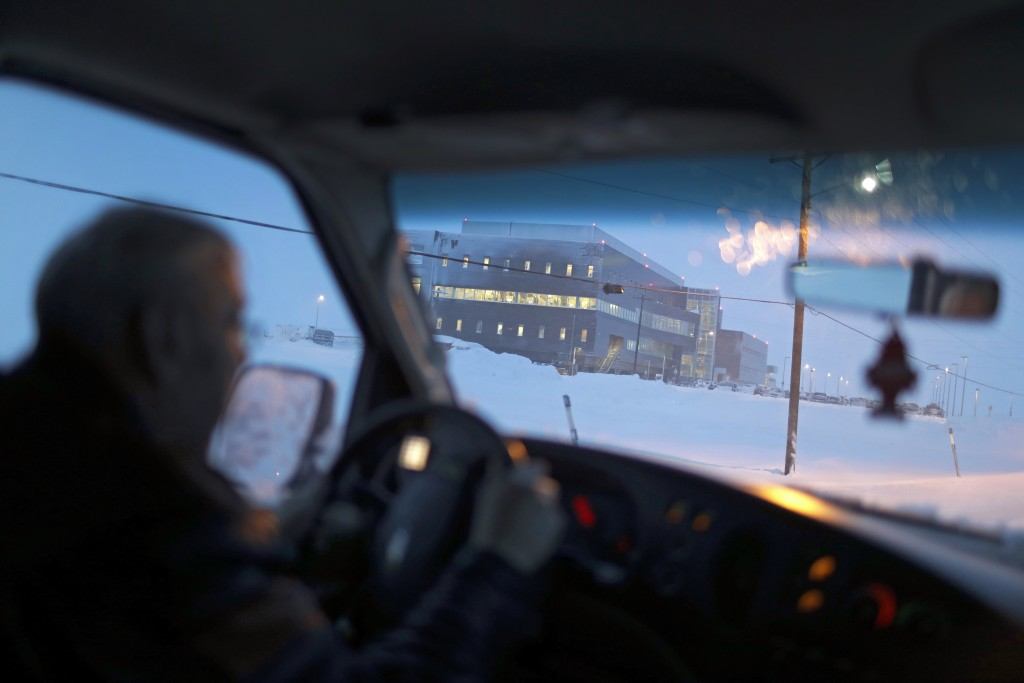 In this Feb. 21, 2019, photo, the Norton Sound Regional Hospital is seen through a taxi windshield during a storm in Nome, Alaska. The main hospital s...