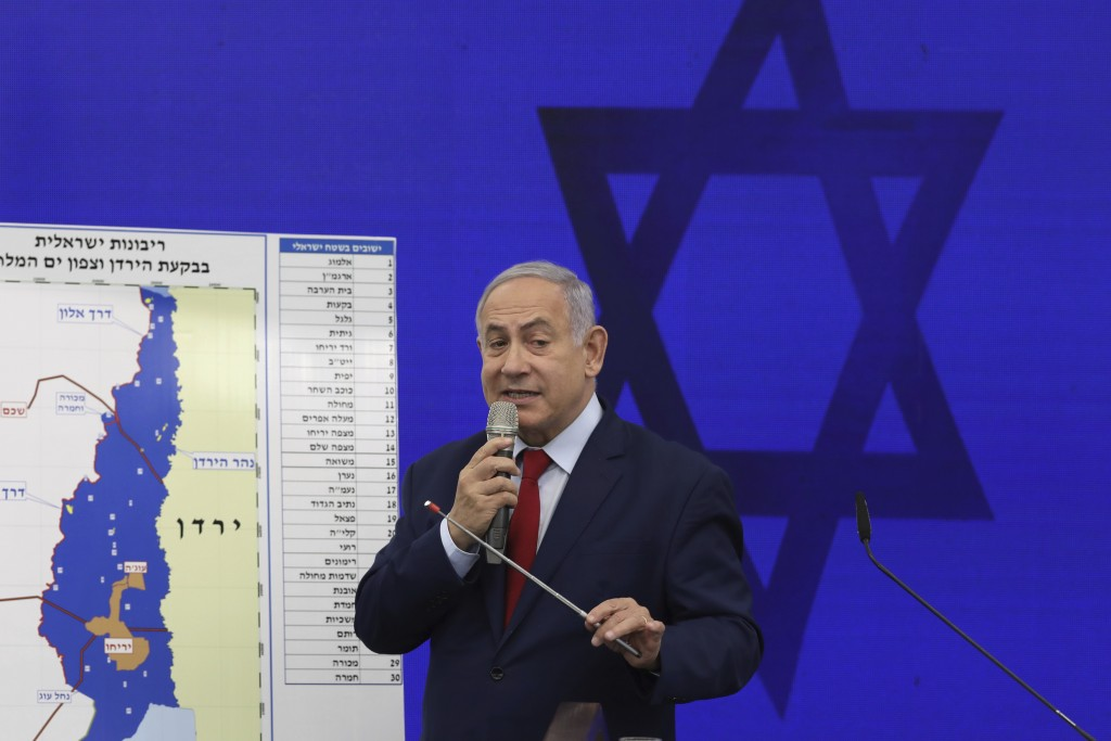 Israeli Prime Minister Benjamin Netanyahu speaks during a press conference in Tel Aviv, Israel, Tuesday, Sept. 10, 2019. Netanyahu vowed Tuesday to be...