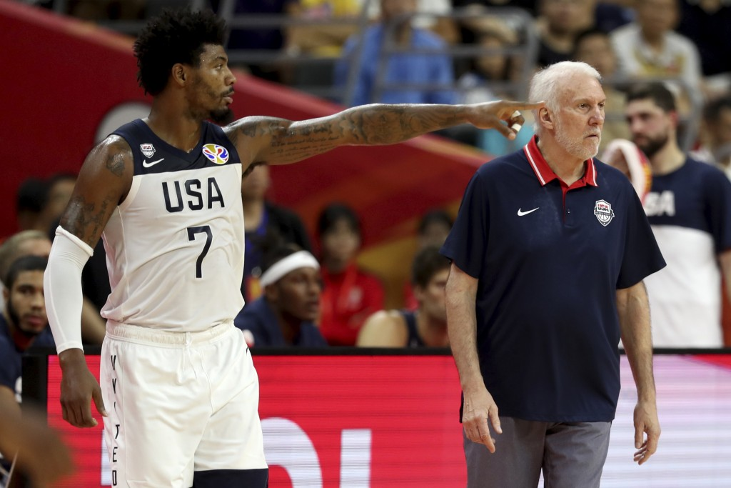 United States' Marcus Smart points near United States' coach Gregg Popovich during a quarterfinal match against France for the FIBA Basketball World C...