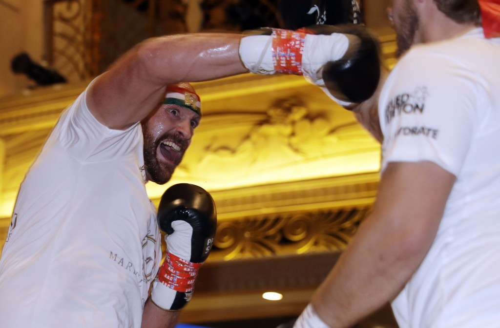 Tyson Fury attends an open workout Tuesday, Sept. 10, 2019, in Las Vegas. Fury is scheduled to face Otto Wallin in a heavyweight boxing match Saturday...