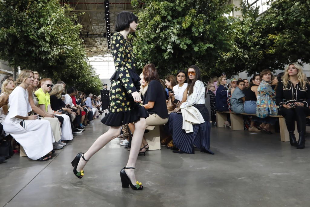 The Michael Kors collection is modeled during Fashion Week in New York, Wednesday, Sept. 11, 2019. (AP Photo/Richard Drew)
