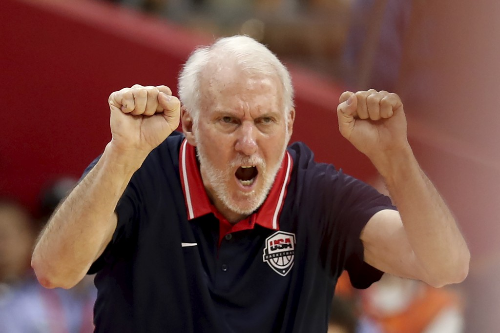 United States' coach Gregg Popovich gestures during a quarterfinal match against France for the FIBA Basketball World Cup in Dongguan in southern Chin...
