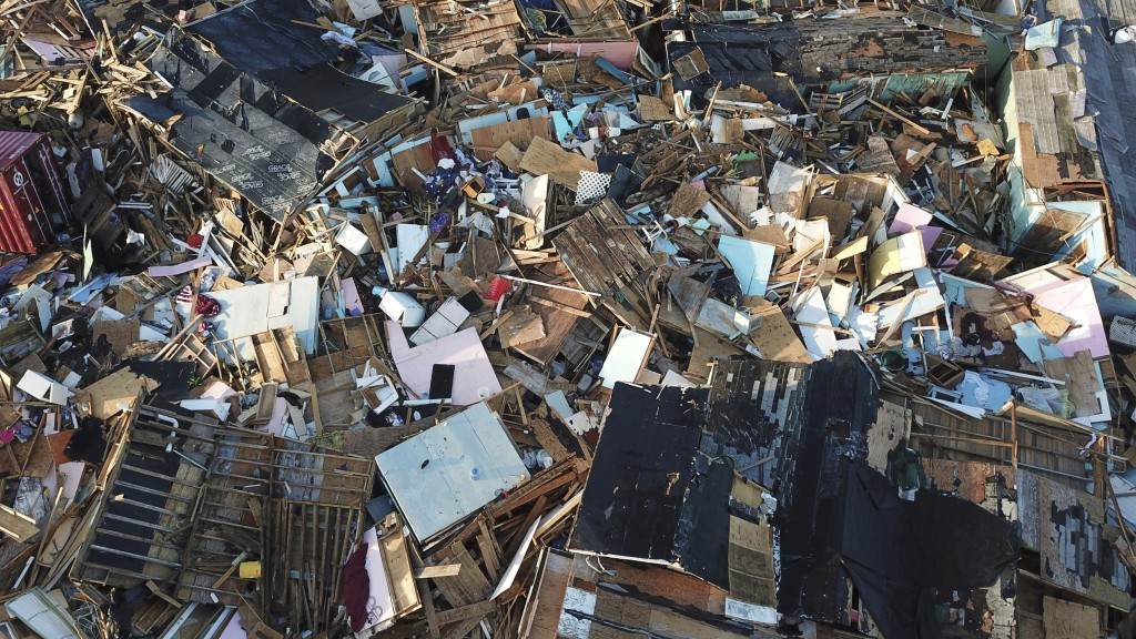 Homes lay in ruins one week after Hurricane Dorian hit The Mudd neighborhood, in the Marsh Harbor area of Abaco, Bahamas, Monday, Sept. 9, 2019. Doria...