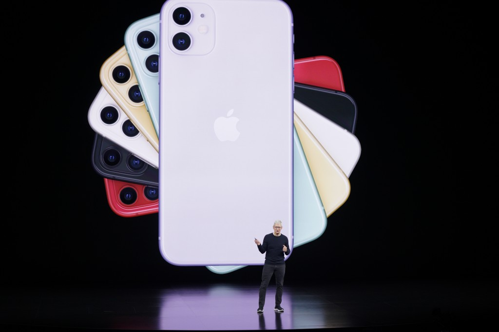Apple CEO Tim Cook talks about the latest iPhone during an event to announce new products Tuesday, Sept. 10, 2019, in Cupertino, Calif. (AP Photo/Tony