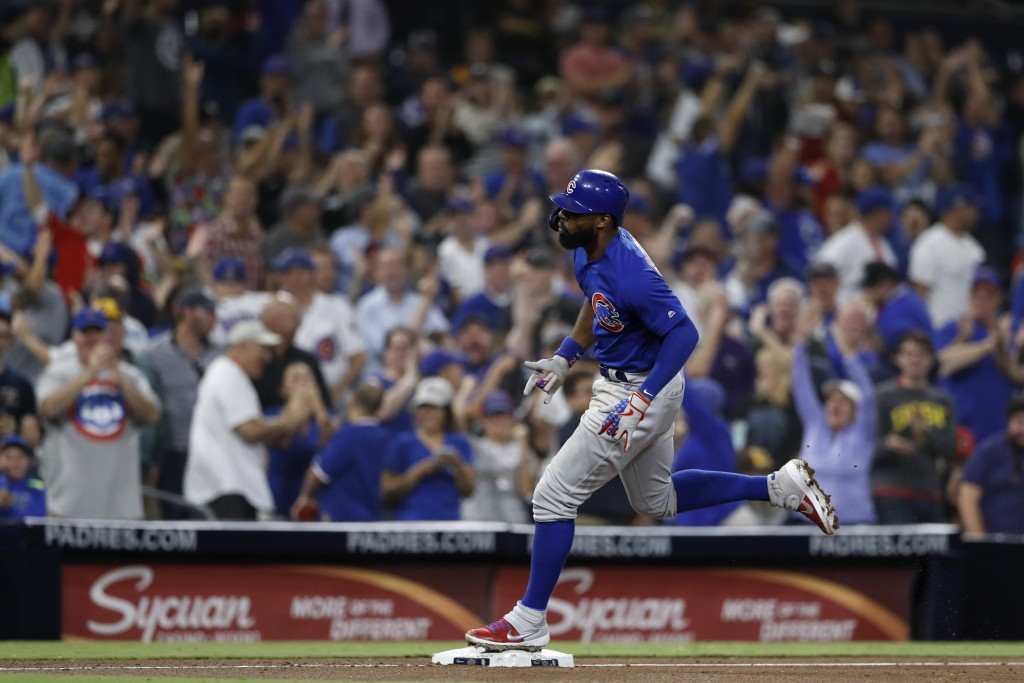 Chicago Cubs' Jason Heyward reacts after hitting a home run during the eighth inning of the team's baseball game against the San Diego Padres on Tuesd...