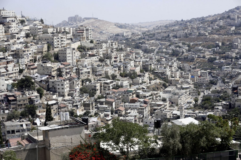 This Monday, Sept. 9, 2019 photo, shows a view of the east Jerusalem neighborhood of Silwan. New official data obtained by The Associated Press shows ...