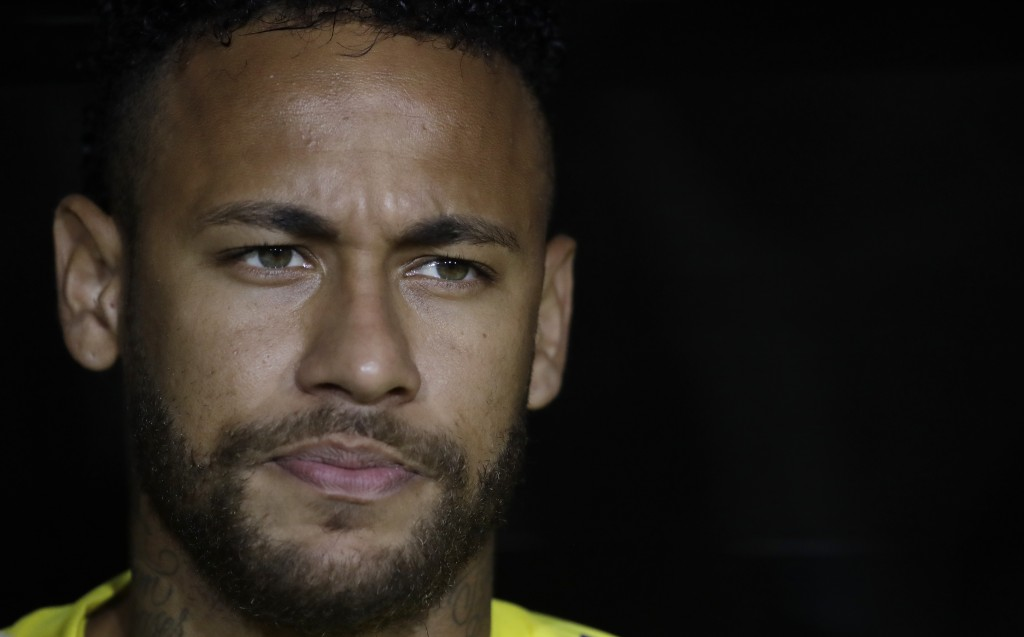 Brazil's Neymar Jr. listens to his country's national anthem before an international friendly soccer match against Peru on Tuesday, Sept. 10, 2019, in