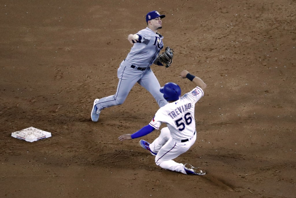 Tampa Bay Rays shortstop Willy Adames throws to first after forcing Texas Rangers' Jose Trevino at second in the first inning of a baseball game in Ar
