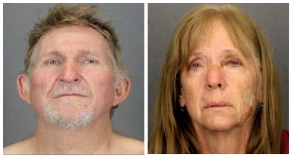 FILE - These undated file booking photos provided by the Tucson Police Department show 56-year-old Blake Barksdale, left, and his 59-year-old wife Sus...