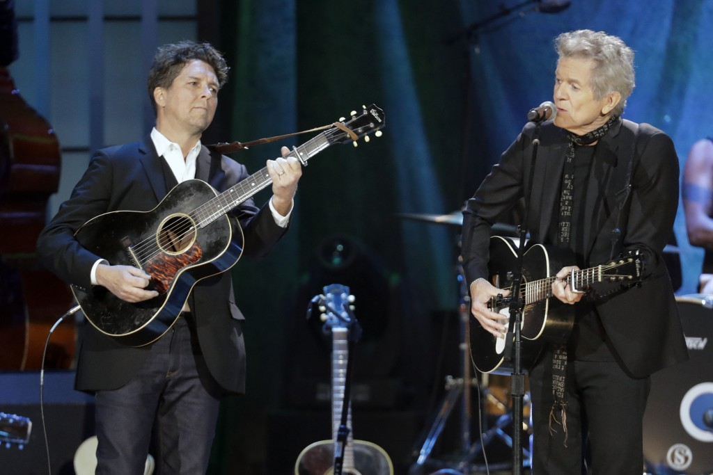 Joe Henry, left, and Rodney Crowell perform during the Americana Honors & Awards show Wednesday, Sept. 11, 2019, in Nashville, Tenn. (AP Photo/Wade Pa...