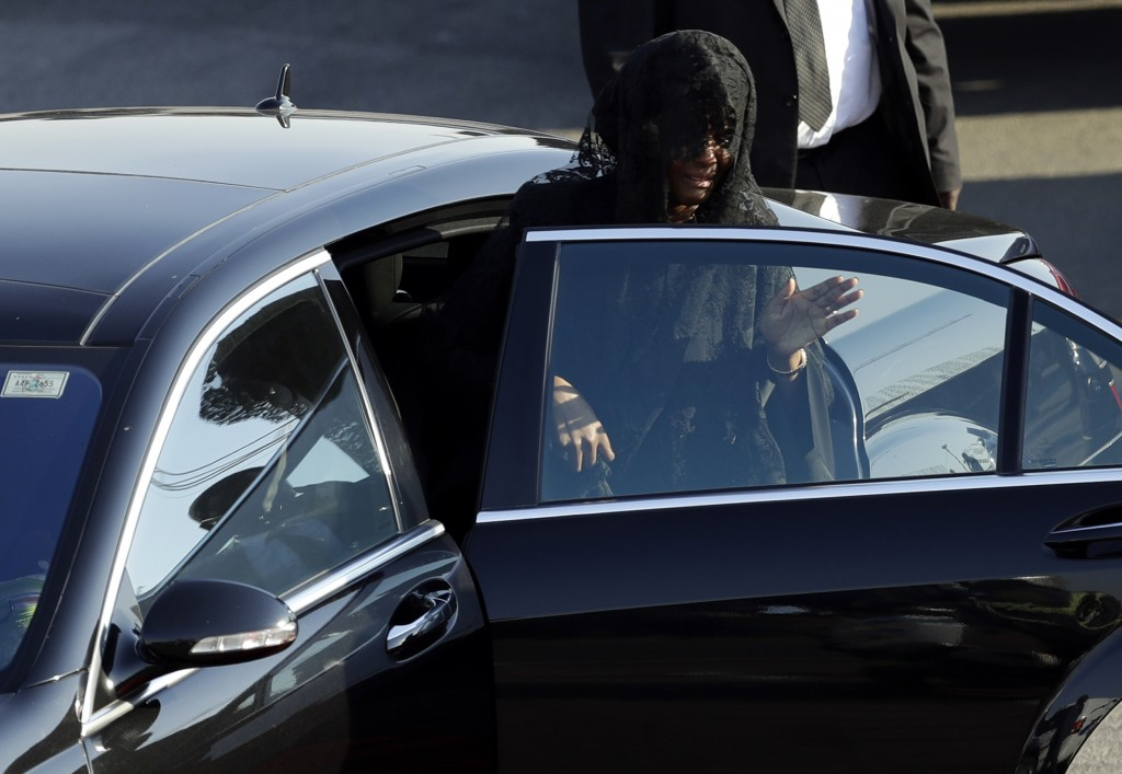 Grace Mugabe, widow of Robert Mugabe, gets into a car after a ceremony at the Robert Gabriel Mugabe International Airport in Harare, Zimbabwe, Wednesd...