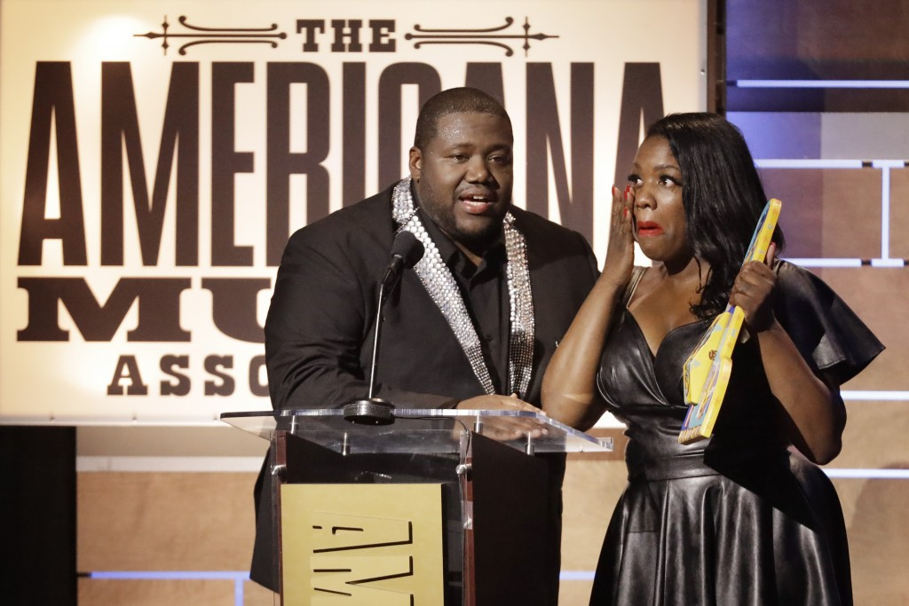 Michael and Tanya Trotter, of the duo The War and Treaty, accept the Emerging Act of the Year Award during the Americana Honors & Awards show Wednesda...