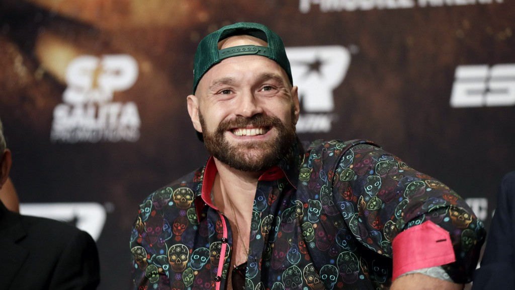 Tyson Fury smiles during a news conference Wednesday, Sept. 11, 2019, in Las Vegas. Fury will face Otto Wallin in a heavyweight boxing match Saturday.