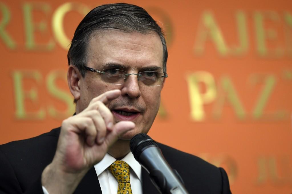 Mexican Foreign Minister Marcelo Ebrard speaks du...