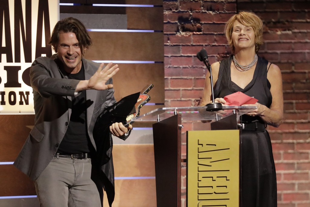 Ketch Secor and Shawn Colvin present the Song of the Year Award to John Prine at the Americana Honors & Awards show, Wednesday, Sept. 11, 2019, in Nas