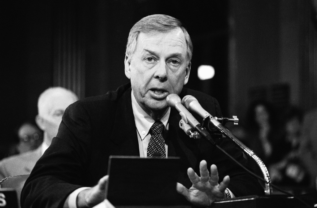 FILE - In this Dec. 20, 1984, file photo, T. Boone Pickens, of Mesa Petroleum, speaks at the Helmsley Palace Hotel in New York. Pickens, who amassed a
