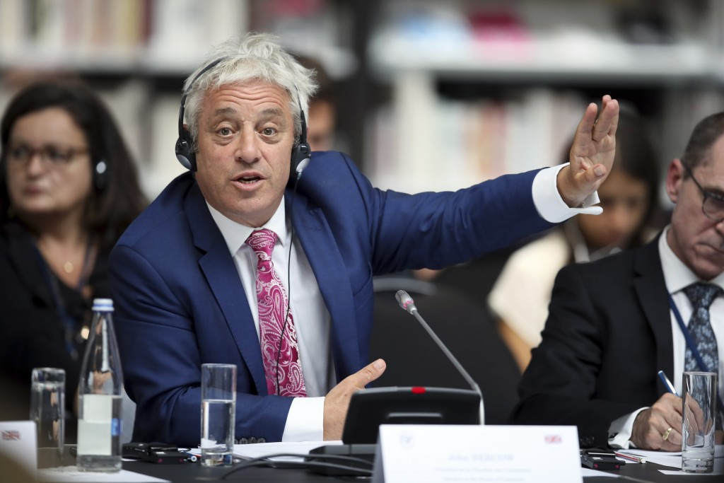 FILE - In this Friday, Sept. 6, 2019 file photo, Speaker of the House of Commons John Bercow gestures during a meeting at the G7 parliaments summit, i...