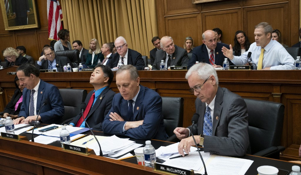 House Judiciary Committee members debate amendments as the panel moved to approve guidelines for impeachment hearings on President Donald Trump, on Ca