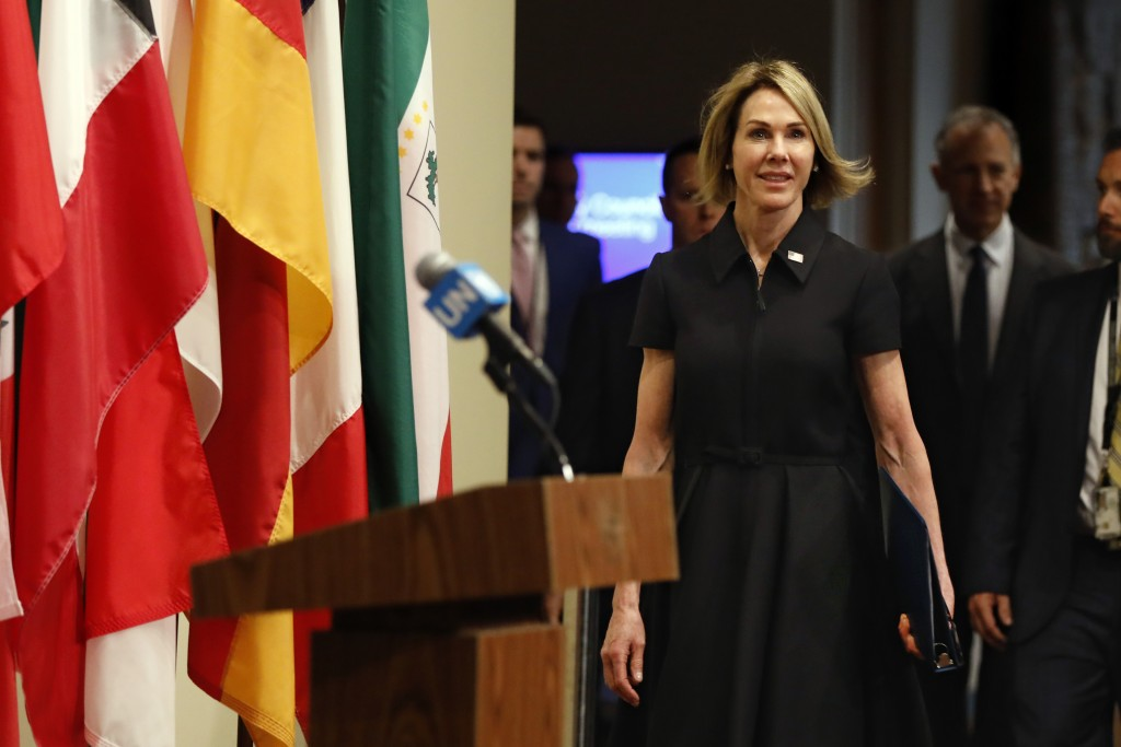 New U.S. Ambassador Kelly Craft walks to the podium to address the press after attending her first Security Council meeting, at United Nations headqua