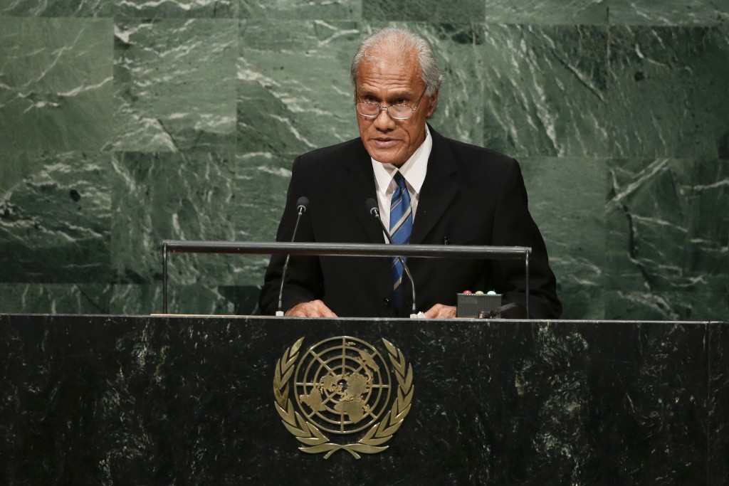 FILE - In this Sept. 26, 2015, file photo, Tongan Prime Minister 'Akilisi Pohiva addresses the 2015 Sustainable Development Summit at the United Natio...