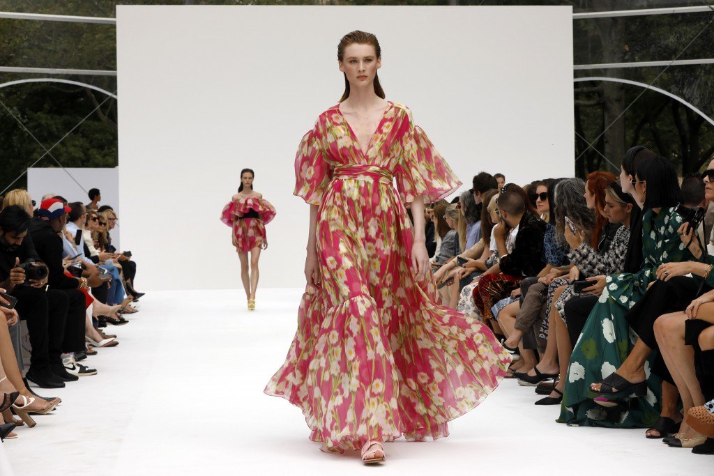 CORRECTS CAPTION AND BYLINE FOE FASHION CAROLINA HERRERA - The Carolina Herrera collection is modeled during Fashion Week, in New York, Monday, Sept.