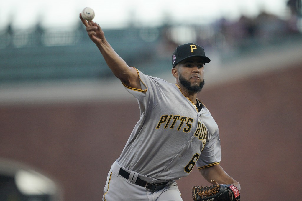 Pittsburgh Pirates starting pitcher Dario Agrazal works against the San Francisco Giants during the first inning of a baseball game Wednesday, Sept. 1...