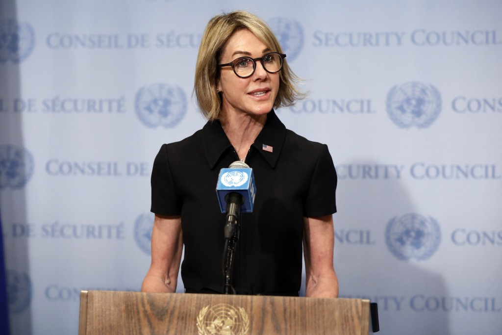 New U.S. Ambassador Kelly Craft talks to the media after attending her first Security Council meeting, at United Nations headquarters, Thursday, Sept.