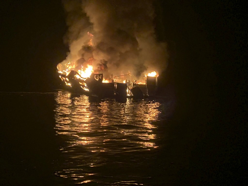FILE - In this Sept. 2, 2019, file photo, provided by the Santa Barbara County Fire Department, a dive boat is engulfed in flames after a deadly fire ...