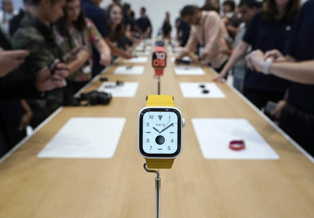 The new iWatch 5 was on display for the event attendees during an event announcement of the new Apple products Tuesday, Sept. 10, 2019, in Cupertino,