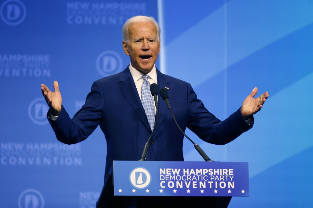Democratic presidential candidate former Vice President Joe Biden speaks during the New Hampshire state Democratic Party convention, Saturday, Sept. 7