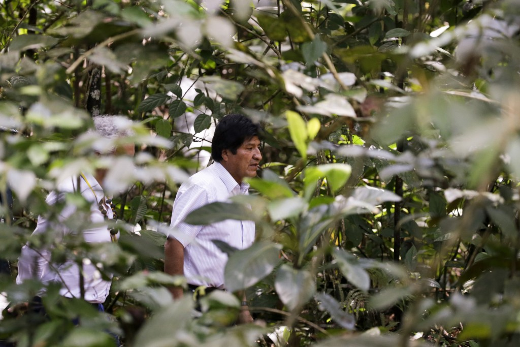 In this Sept. 6, 2019 photo, Bolivia's President Evo Morales arrives to a meeting with leaders of several South American nations that share the Amazon...
