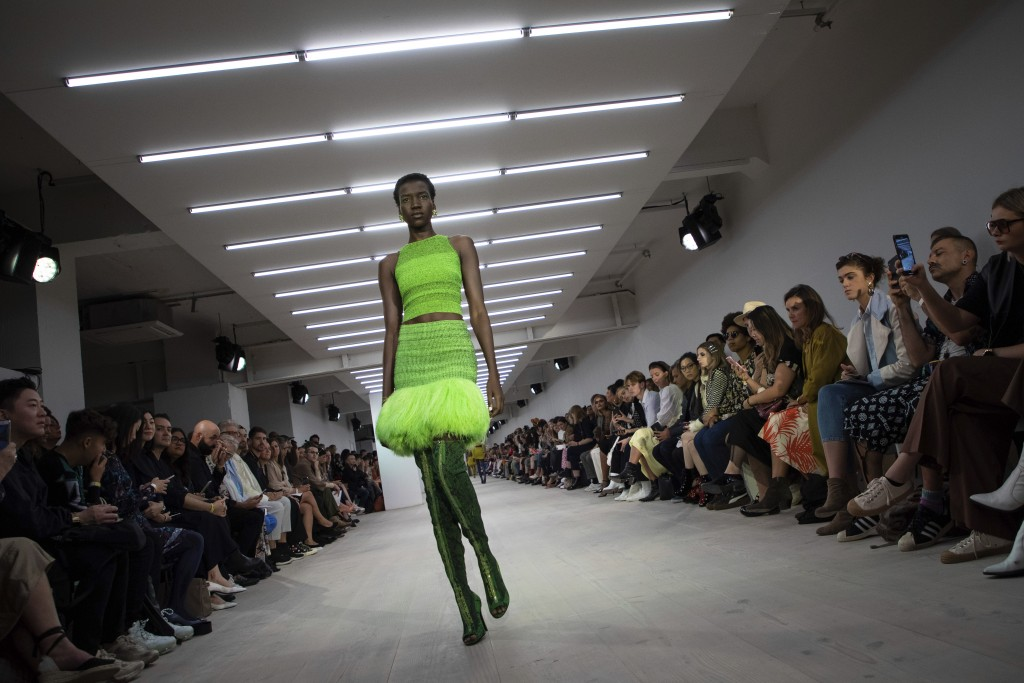 A model wears a creation by Mark Fast at the Spring/Summer 2020 fashion week runway show in London, Friday, Sept. 13, 2019. (Photo by Vianney Le Caer/